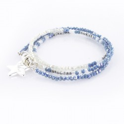 Bracelet triple, bleu jean et argent