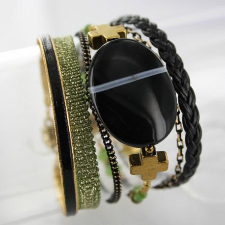 Bracelet manchette aimanté agate noire et hématite