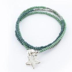 Bracelet triple, vert et argent