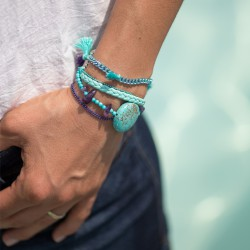 Bracelet manchette aimanté turquoise et améthyste