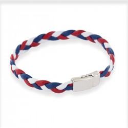 Bracelet tressé bleu, blanc, rouge en cuir tressé