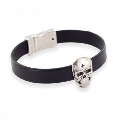 Bracelet skullhead en cuir Homme