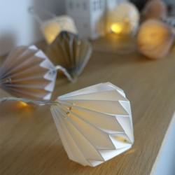Guirlande lumineuse Origami gris et blanc