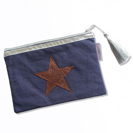 Pochette bleu jean, étoile cuivre