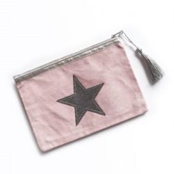 Pochette rose pâle, étoile argent