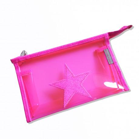 Pochette plastique rose fluo