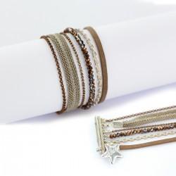 Bracelet manchette aimanté chocolat et argent