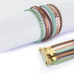 Bracelet manchette aimanté turquoise et cuivre