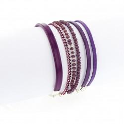Bracelet manchette aimanté violet et argent