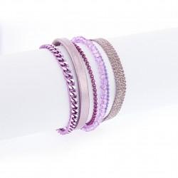 Bracelet manchette aimanté mauve et argent