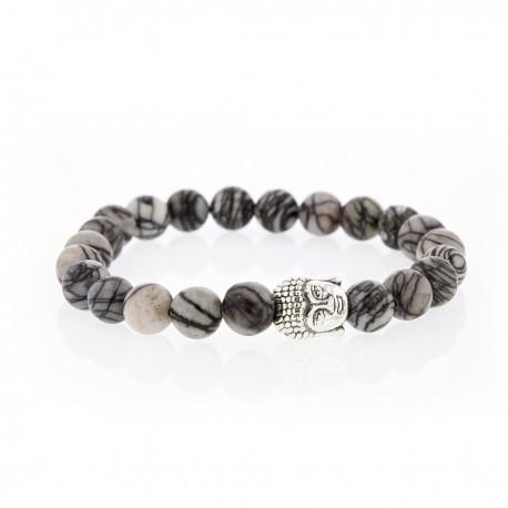 Bracelet Lucky Homme jaspe zebré et buddha