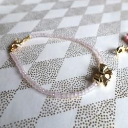 Bracelet cristal, noeud or