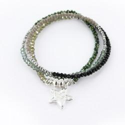 Bracelet triple, cristal et hématite camouflage