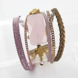 Bracelet manchette aimanté quartz rose et hématite