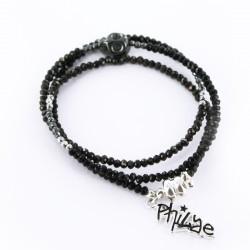 Bracelet triple, Noir et argent Rock