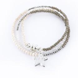 Bracelet triple, nude et argent