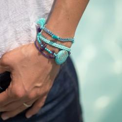Bracelet manchette aimanté léopard
