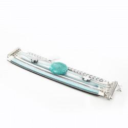 Bracelet manchette aimanté turquoise et hématite