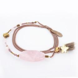 Sautoir quartz rose et hématite sur sur chaîne