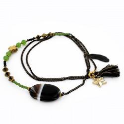 Sautoir agate noir, jade et hématite sur sur chaîne