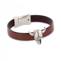 Bracelet taureau en cuir Homme