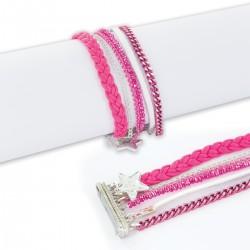 Bracelet manchette aimanté fushia