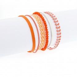 Bracelet manchette aimanté orange et argent