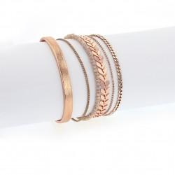 Bracelet manchette aimanté cuivre et nude