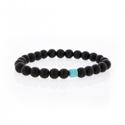 Bracelet Lucky Homme onyx et turquoise