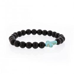 Bracelet Lucky Homme onyx et croix turquoise
