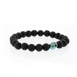 Bracelet Lucky Homme pierre de lave et skullhead turquoise