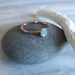 Bague cristal de swarovski turquoise et or rose