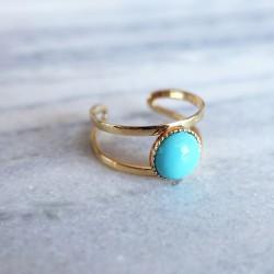 Bague pierre oeil turquoise et or