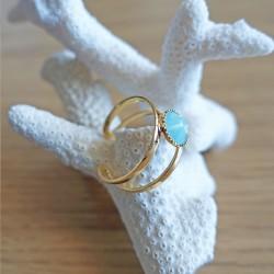 Bague cristal de Swarovski turquoise et or