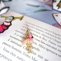 Pink flamingo charm in gold