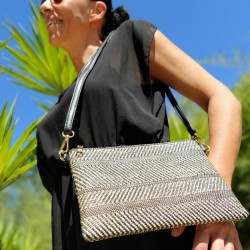 Black and ivory woven straw...