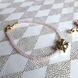 Bracelet cristal, noeud or