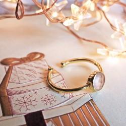 Round pink quartz and gold...