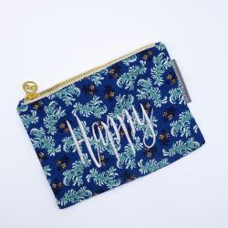 """Happy"" dark blue floral..."