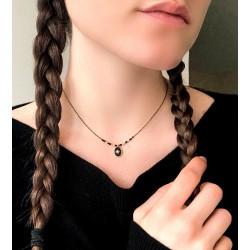 Black medallion necklace
