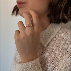 Pink Quartz and gold ring