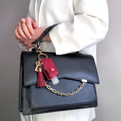 Burgundy and gold key ring