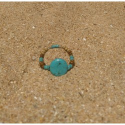 Wood and turquoise stone...